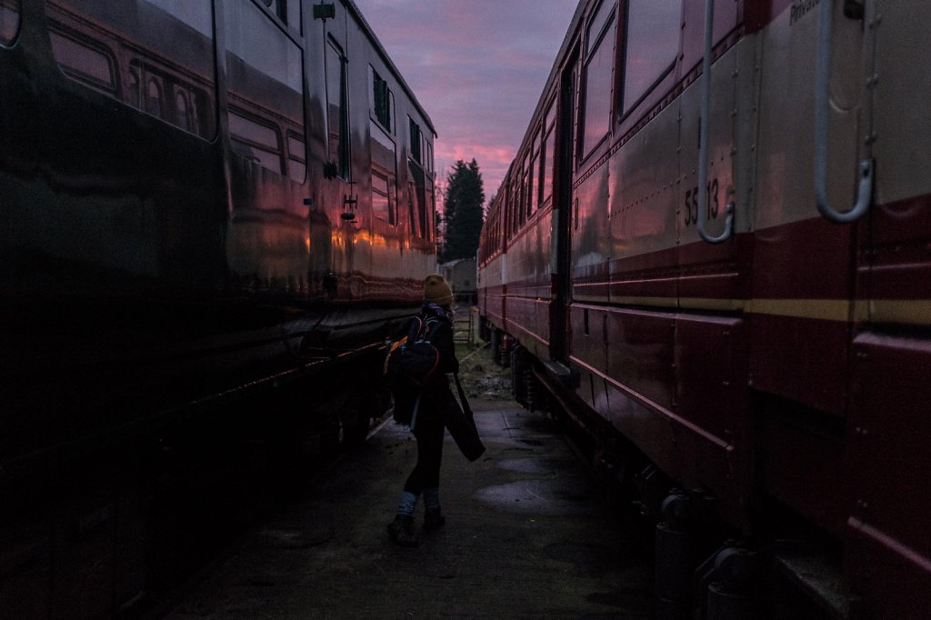 Abandoned train carriages